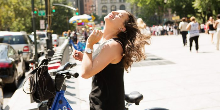 """'m all over it. I soon discovered that in addition to being my favored form of public transportation, riding a Citi Bike (or any bike) is also the perfect opportunity for a low-maintenance beauty person like myself to fake the look of """"doing my hair."""""""